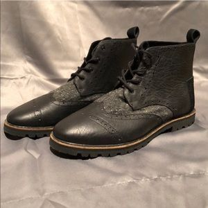 Toms Shoes - Tom's Leather Boots Fleck Speck Grey Brogue